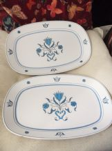 PAIR OF VINTAGE RETRO NORITAKE BLUE HAVEN PROGRESSION LARGE PLATTERS 13.75""